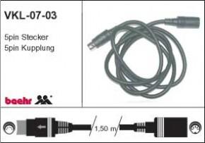 KT-VKL-0703 Verlegekabel Helmanschluss, 5p Stecker - 5p Kupplung, L=1,5m